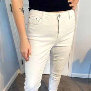 Skinny Ankle Cut White Jeans